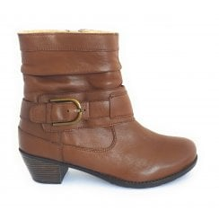 Malala Tan Leather Ankle Boot