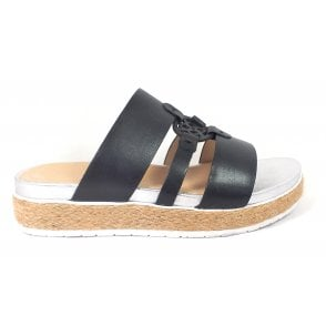Malibu 411-A2V90-1000 Black Leather Espadrille Mules
