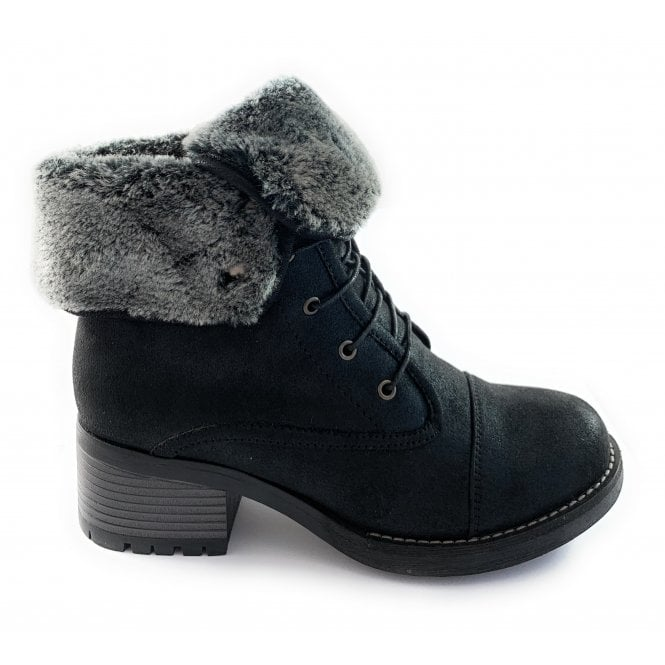 Lotus Malina Black Faux Fur Lined Lace-Up Boot