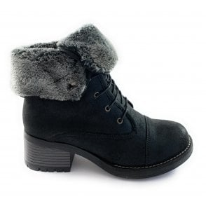 Malina Black Faux Fur Lined Lace-Up Boot