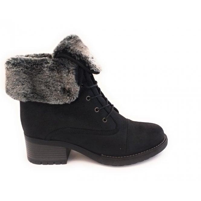 Lotus Malina Black Lace-Up Boot