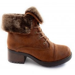 Malina Tan Faux Fur Lined Lace-Up Boot
