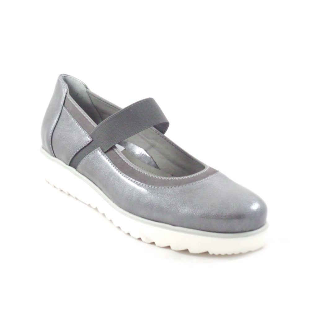 ara malmo 12 31540 grey patent slip on casual wedge shoe