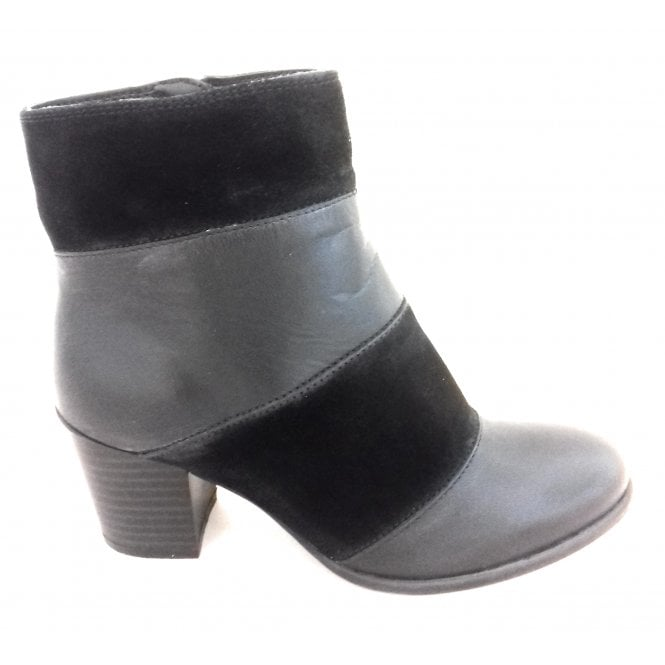 Lotus Mantura Black Leather and Suede Ankle Boot