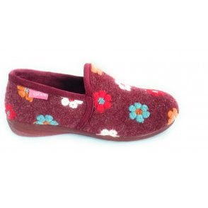 Marigold Bugundy Floral Slipper