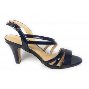 Marlin Navy Crinkle Patent Open-Toe Sandals
