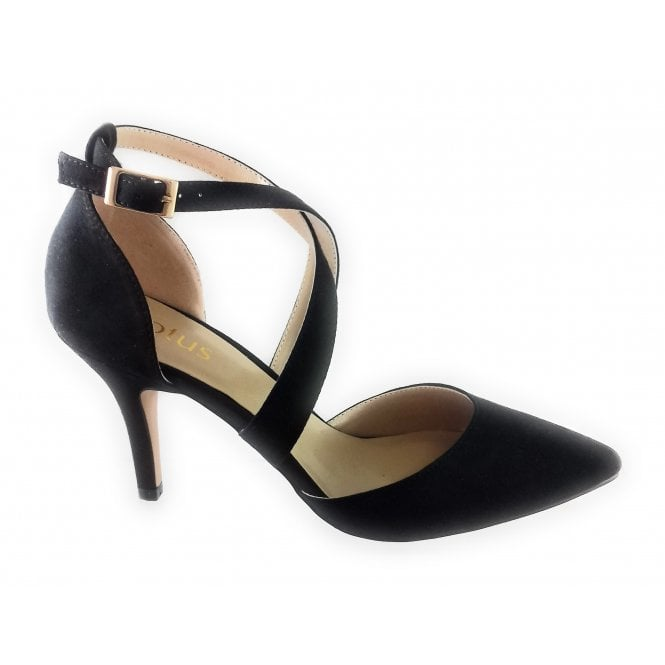 Lotus Marrel Black Microfibre Court Shoe
