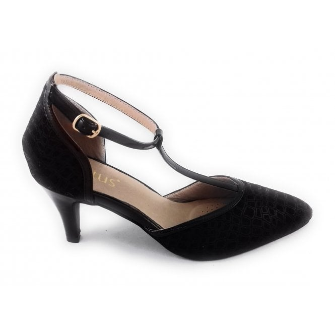 Lotus Marsh Black Print T-Bar Court Shoe