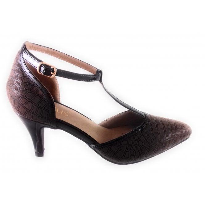 Lotus Marsh Brown Print T-Bar Court Shoe