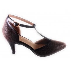 Marsh Brown Print T-Bar Court Shoe