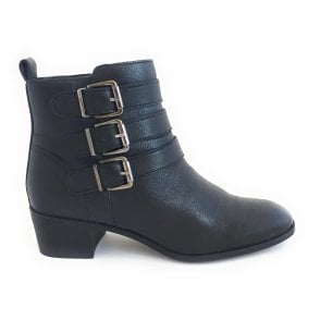 Mathilda Black Leather Ankle Boot
