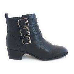 Mathilda Black Leather Ankle Boot