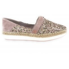 Maya Rose Gold Glitter Espadrille Wedge