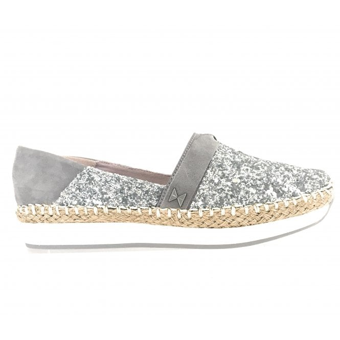 Butterfly Twists Maya Silver Glitter Espadrille Wedge