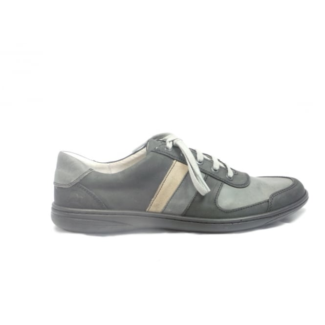 Softwalk Mens Black and Grey Leather Lace-Up Casual Shoe