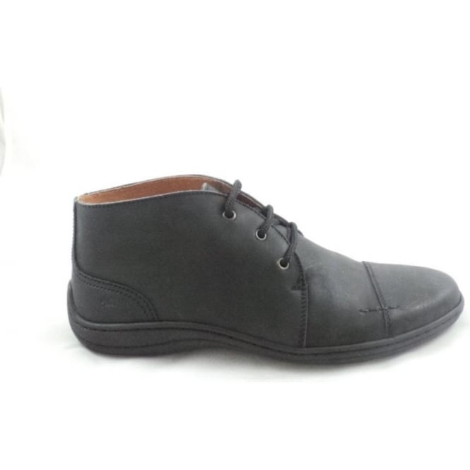 Softwalk Mens Black Leather Lace-Up Casual Boot Size 7