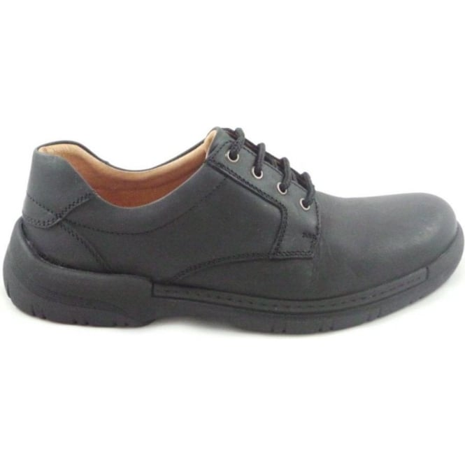 Softwalk Mens Black Leather Lace-Up Casual Shoe