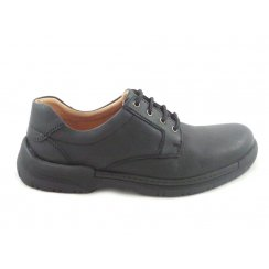 Mens Black Leather Lace-Up Casual Shoe