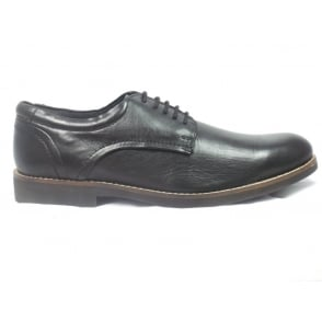 Mens Black Leather Lace-Up Shoe