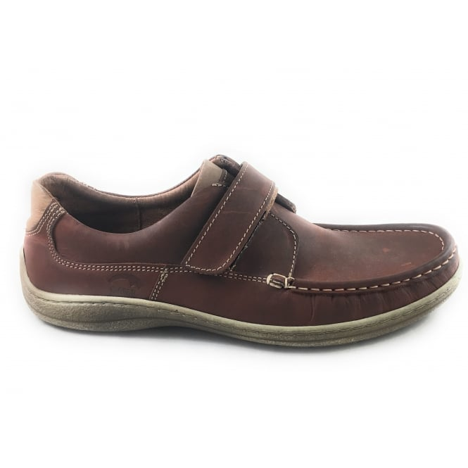 Softwalk Mens Brown Leather Casual Shoe with Velcro Strap