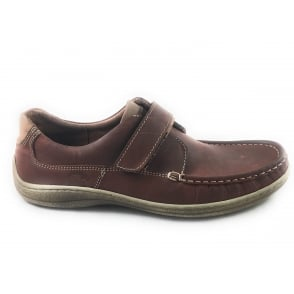 Mens Brown Leather Casual Shoe with Velcro Strap