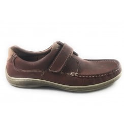 Mens Brown Leather Casual Shoe with Velcro Strap Size 8