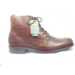 Mens Brown Leather Lace-Up Boot