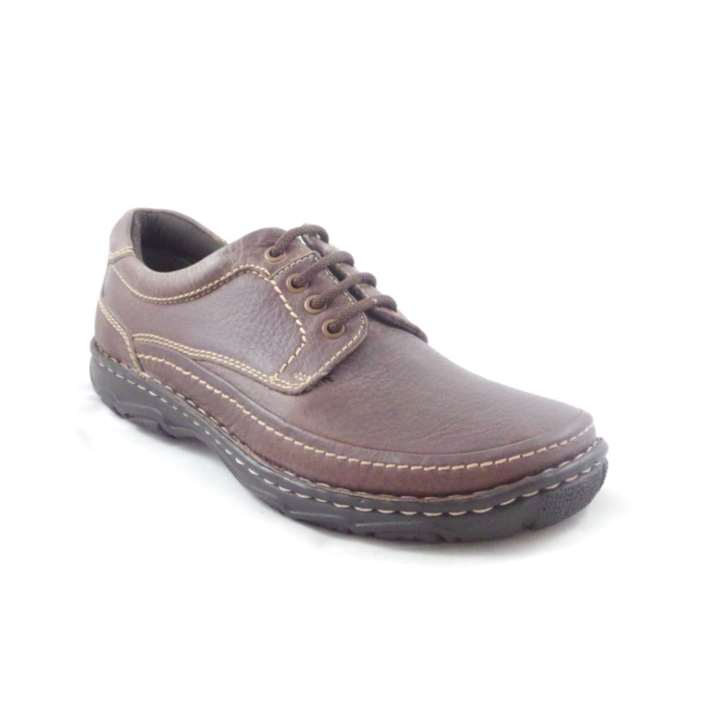 mens brown leather lace up casual shoe from