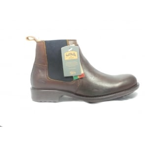 Mens Brown Leather Slip-on Chelsea Boot