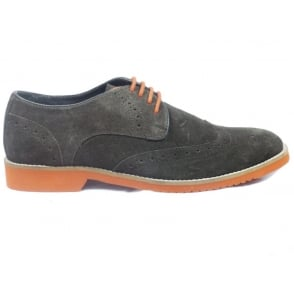 Mens Brown Suede Lace-Up Brogue
