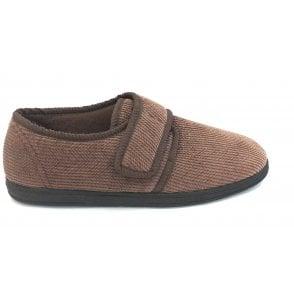 Mens Brown Velcro Slippers