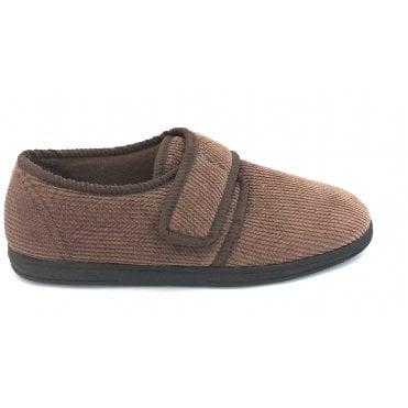 Mens Brown Velcro Slippers