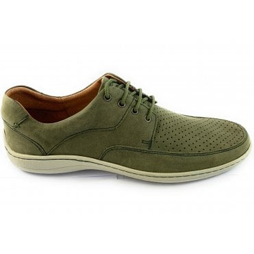 Mens Green Nubuck Leather Lace-Up Casual Shoe