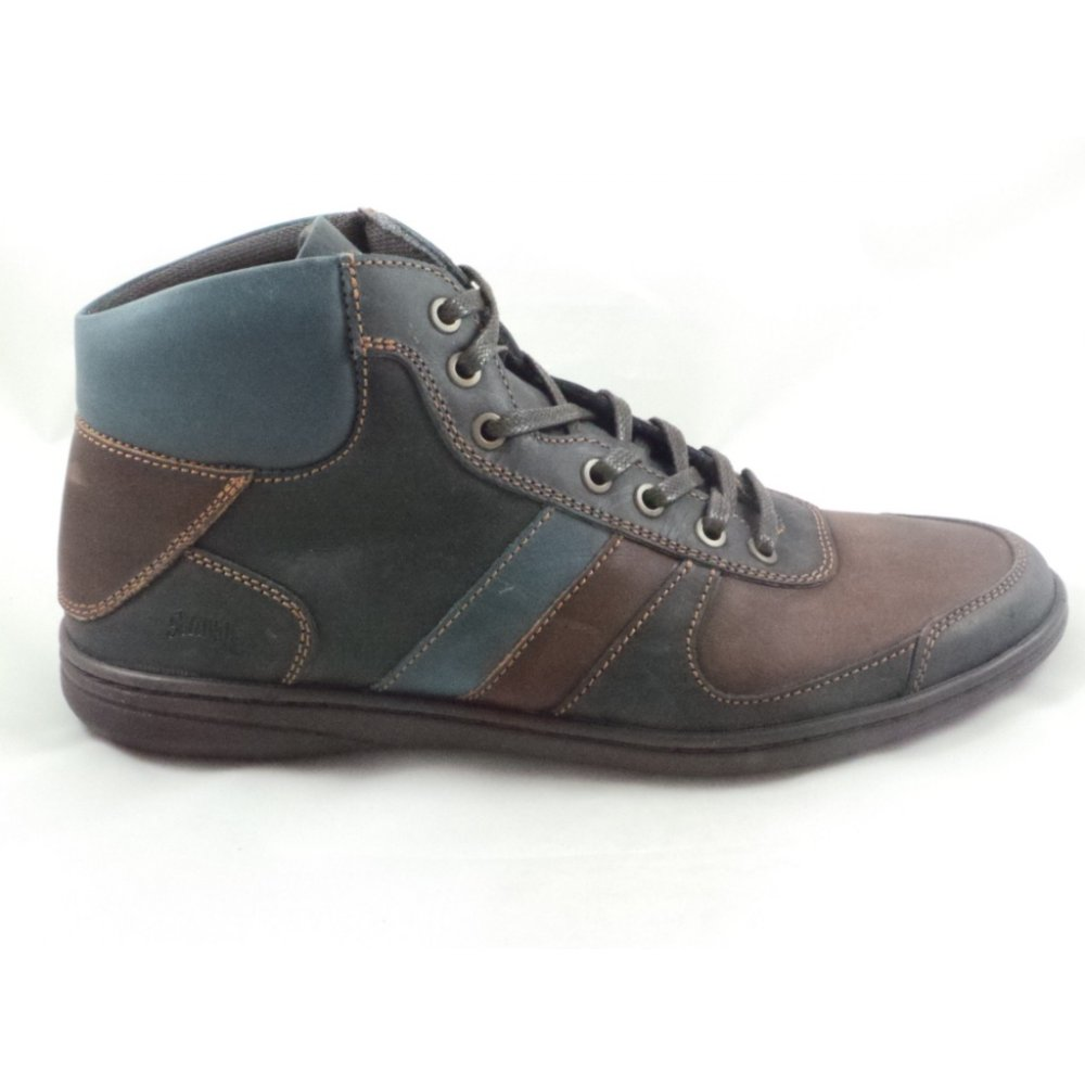 softwalk mens navy and brown leather lace up casual boot