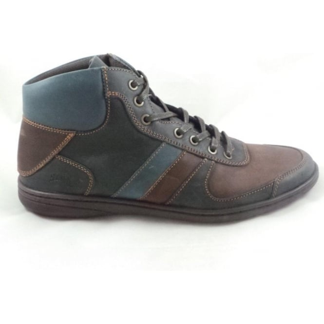 Softwalk Mens Navy and Brown Leather Lace-Up Casual Boot