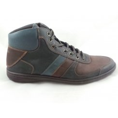 Mens Navy and Brown Leather Lace-Up Casual Boot