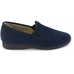 Mens Navy Corduroy Slippers