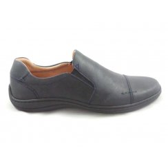Mens Navy Leather Slip-On Casual Shoe Size 7