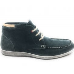 Men's Navy Suede Casual Lace-Up Ankle Boot