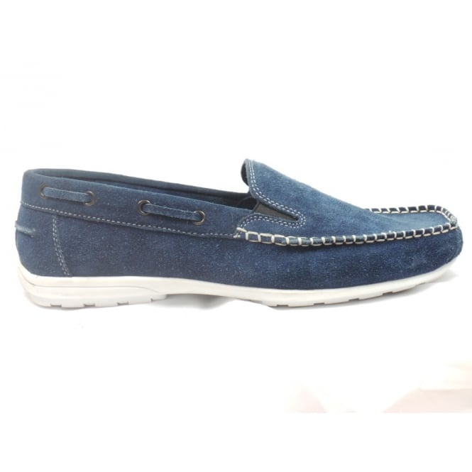 Lotus Mens Navy Suede Slip-On Casual Shoe