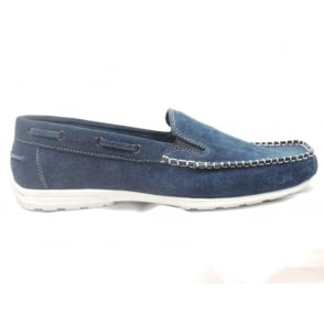 Mens Navy Suede Slip-On Casual Shoe
