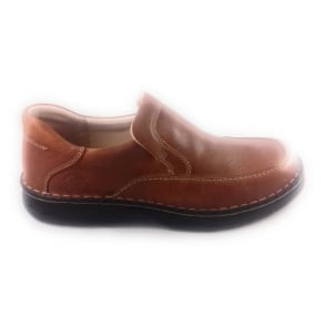 Mens Tan Leather Slip-On Casual shoe