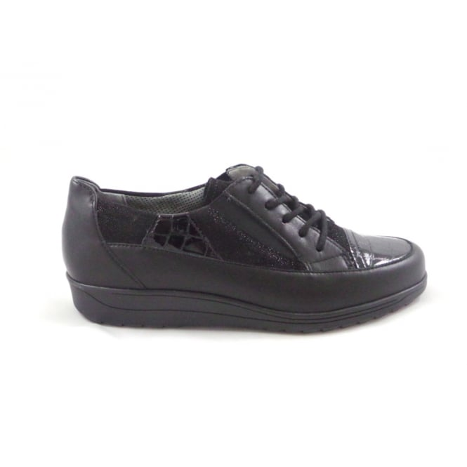 Ara Meran 12-26333 Dark Grey Patent and Nubuck Lace-Up Casual Shoe