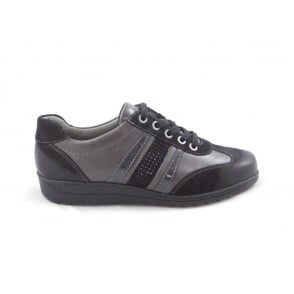 Meran 12-46322 Black and Pewter Leather Lace-Up Wide Fit Casual Shoe