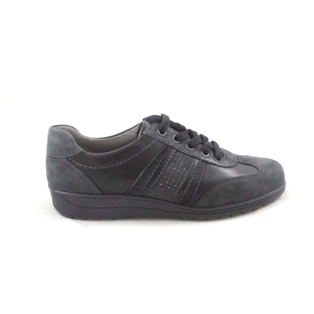 Ara Meran 12 46322 Grey And Black Leather Lace Up Wide Fit