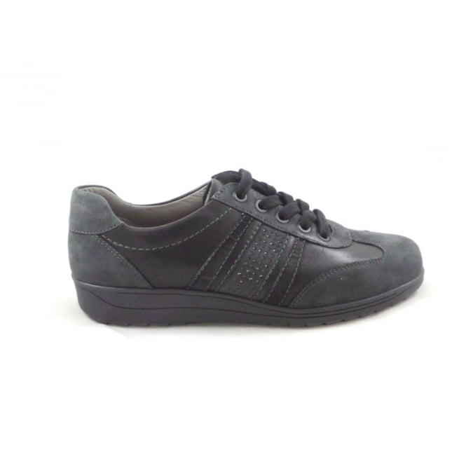Ara Meran 12-46322 Grey and Black Leather Lace-Up Wide Fit Casual Shoe