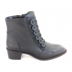 Meric Black Leather Ankle Boot