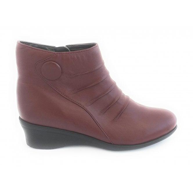 Lotus Mila Bordo Leather Wedge Ankle Boot