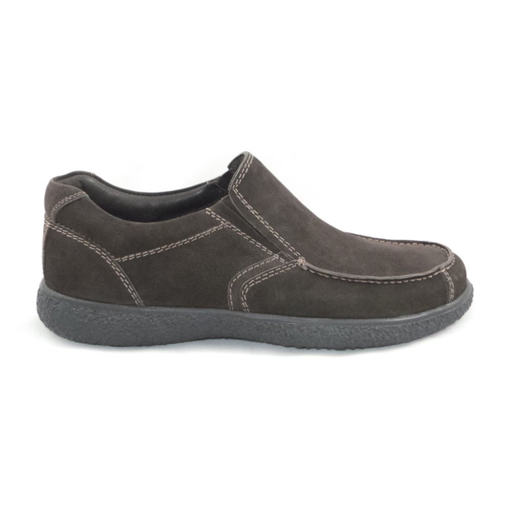 padders brown nubuck slip on casual shoe