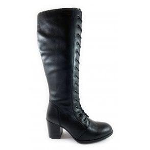 Mina Black Leather Knee-High Boot